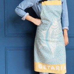 Delantal de cocina colección Kontatu Getaria Aqua de Jean Vier